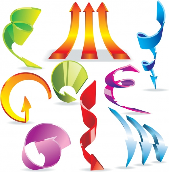 decorative arrow icons shiny colorful modern 3d design