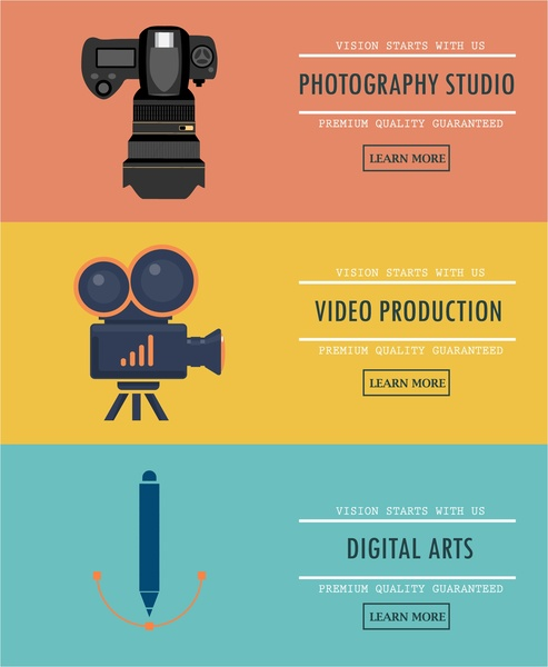 art promotion banners illustration with web design style