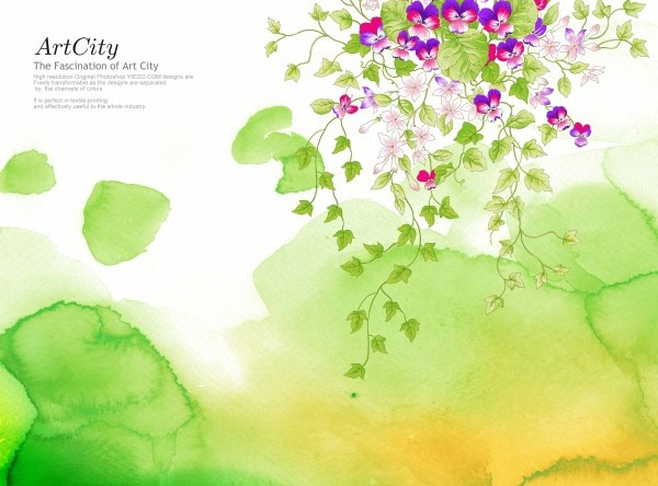 artcity handpainted flowers psd layered