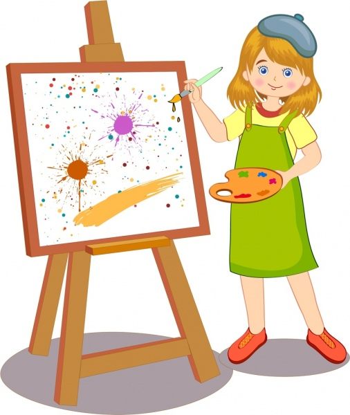 Female Spray Painter Vector
