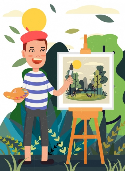 artist work drawing painter painting icons colored cartoon