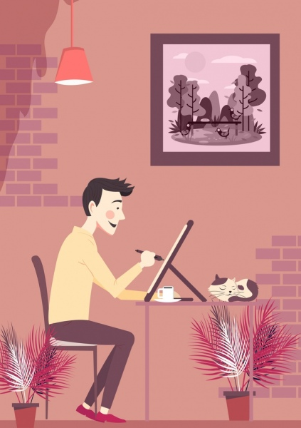 artist work drawing painting man icon colored cartoon