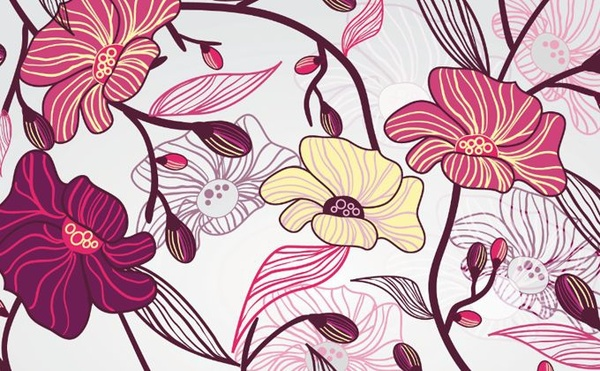 floral background colored hand drawn sketch