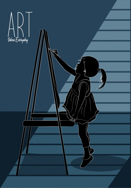 artwork painting little girl icon 3d silhouette sketch