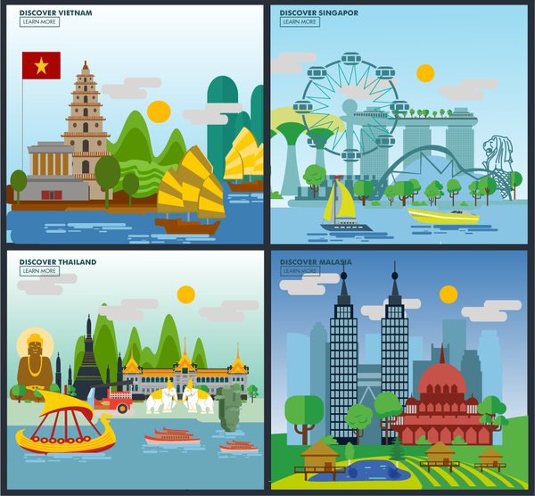 Landscape Illustration Vector Free: Asia Travel Design Concept With Colorful Landscape