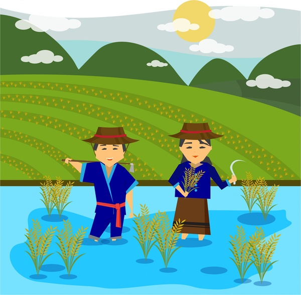 asian farmers drawing design with rice field