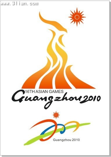 2010 asian games banner fire icons colorful design