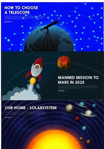Astronomy Banner With Planets And Spaceship Design Free Vector In Adobe Illustrator Ai Ai Format Format For Free Download 46 13mb
