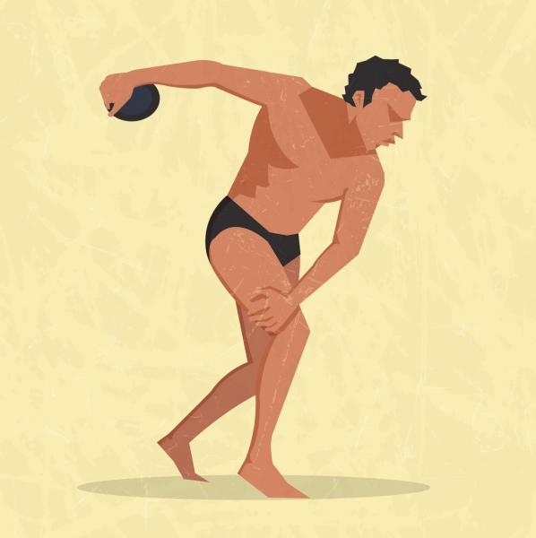 athlete icon colored cartoon design