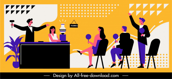 auction event background colorful classic flat design