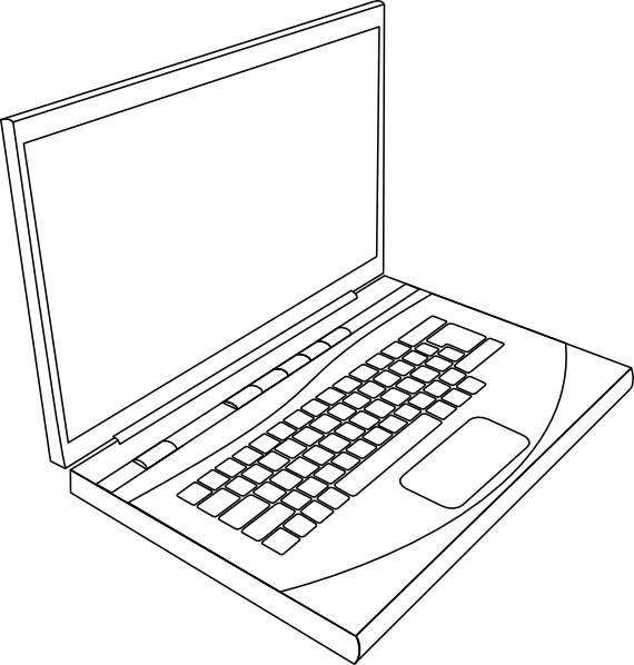 Open Office Drawing Lines : Aurium laptop in line art clip free vector open