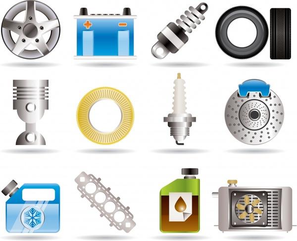 automotive parts icons colored modern flat design