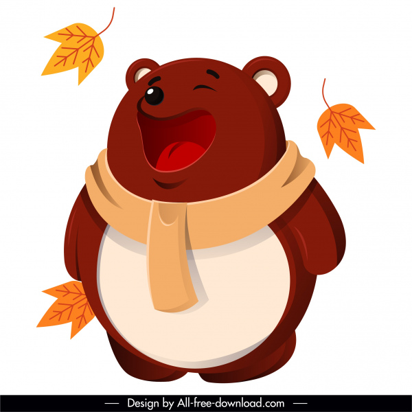 autumn animal icon stylized funny bear sketch