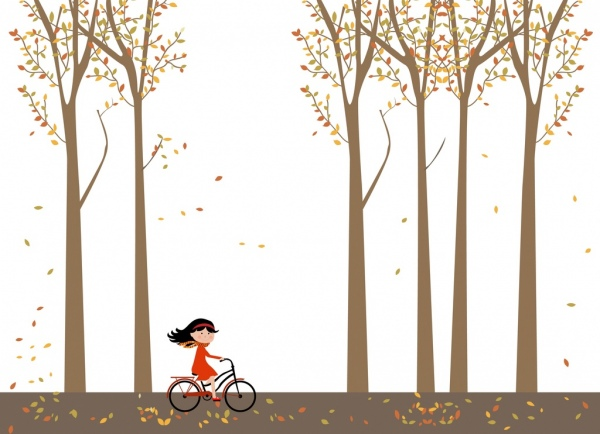 autumn background cartoon style little girl ridding bicycle
