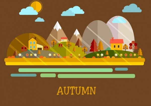 autumn background houses trees clouds icons multicolored design