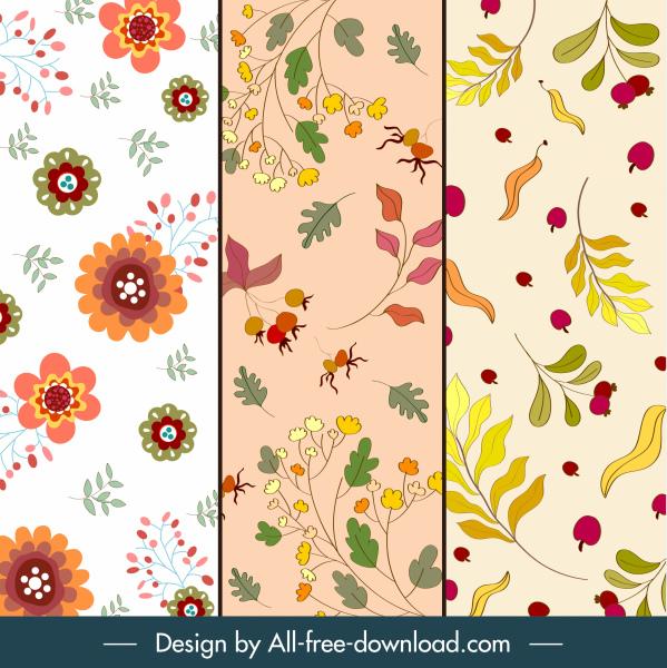 autumn background templates colorful classic floral leaf decor