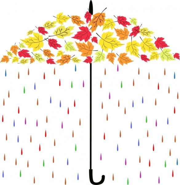 autumn background umbrella colorful leaves rain icons decoration