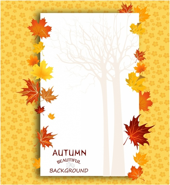 autumn background with maple leaves. Copy space.