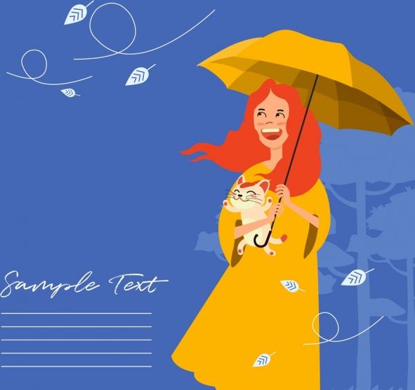 autumn background woman umbrella wind flying leaf icons
