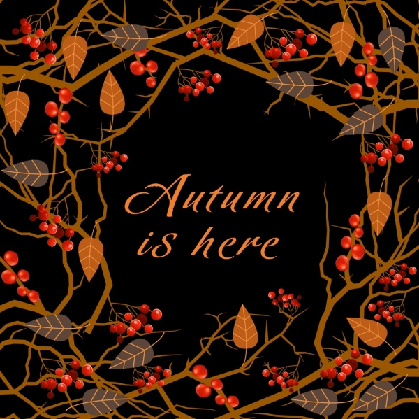 autumn banner dark design fruit leaves decoration