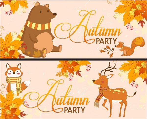 autumn banner sets bear reindeer fox brown leaves