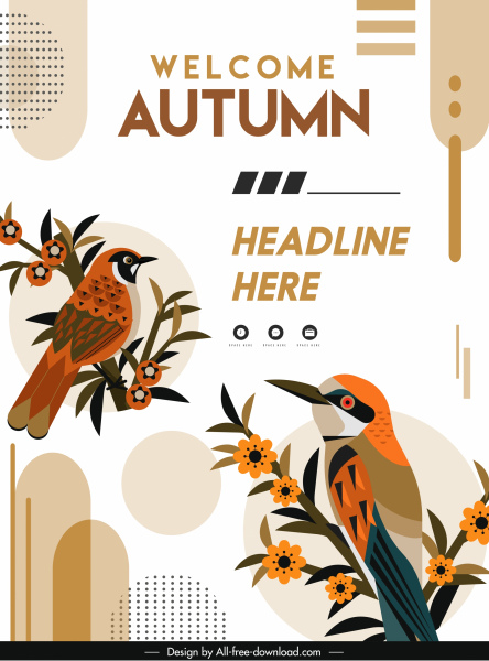 autumn banner template elegant classical birds flowers decor