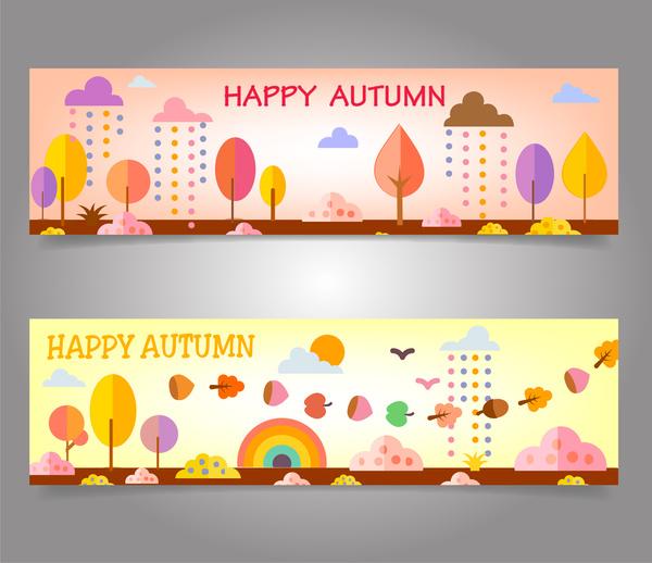 autumn banners design on cartoon background