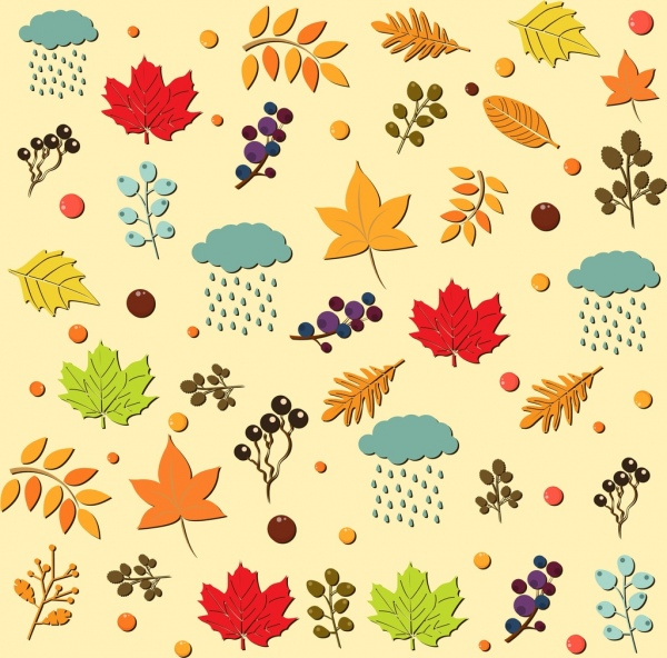 autumn design element various colored symbols repeating style