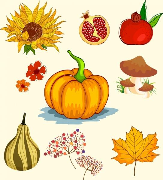 autumn design elements fruit mushroom sunflowers leaf icons