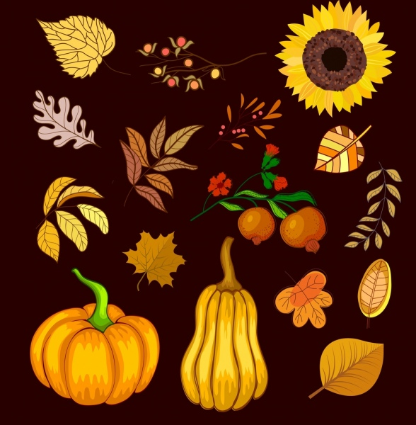 autumn design elements fruits flowers leaves icons