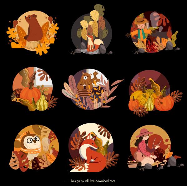 autumn icons classic colorful design