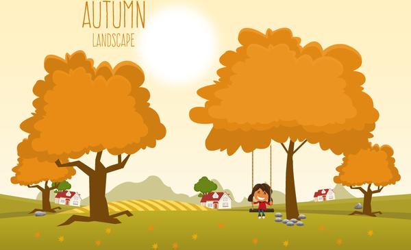 Landscape Illustration Vector Free: Autumn Landscape Under Sunshine Vector Illustration Free