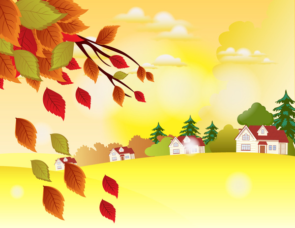 autumn landscape vector illustration with homes and trees
