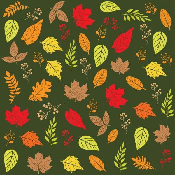 autumn leaves background various repeating colorful flat design