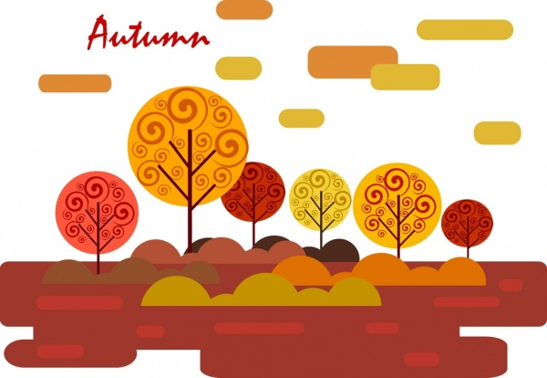 autumn natural scenery background orange trees sketch