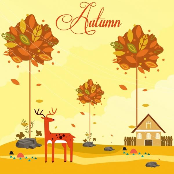 autumn painting falling leaf reindeer icons cartoon design