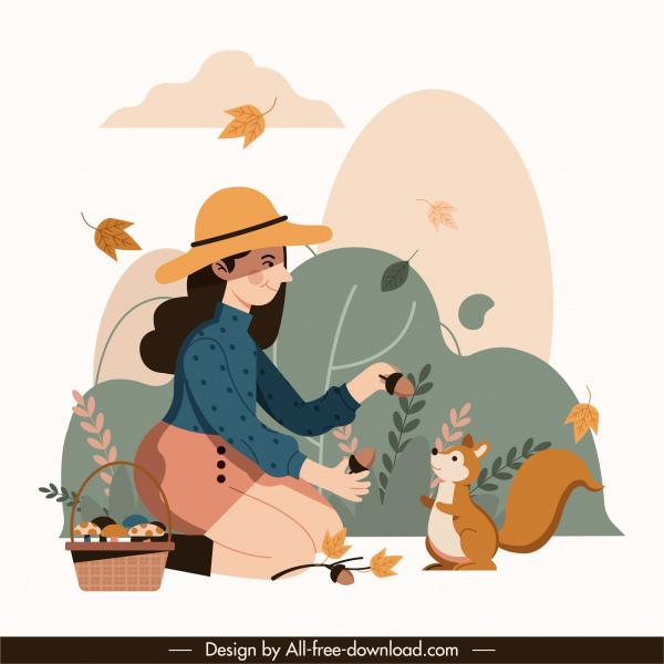 autumn painting girl squirrel wind sketch cartoon design