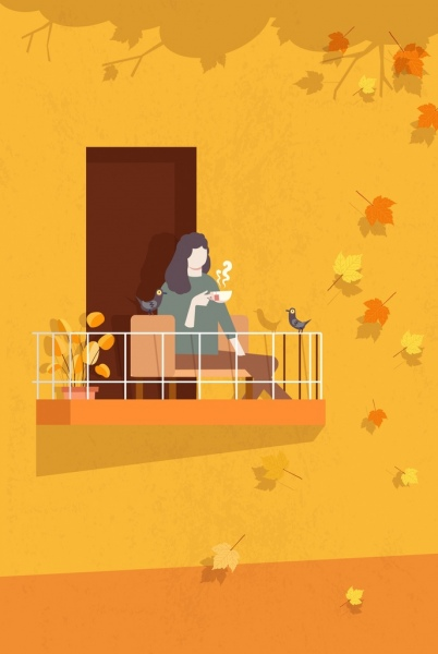 autumn painting relaxing woman falling leaves cartoon design