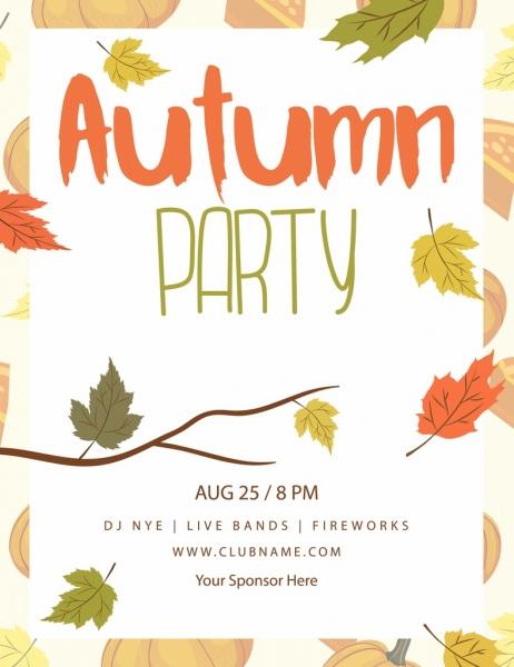 autumn party banner colorful leaves pumpkin decoration
