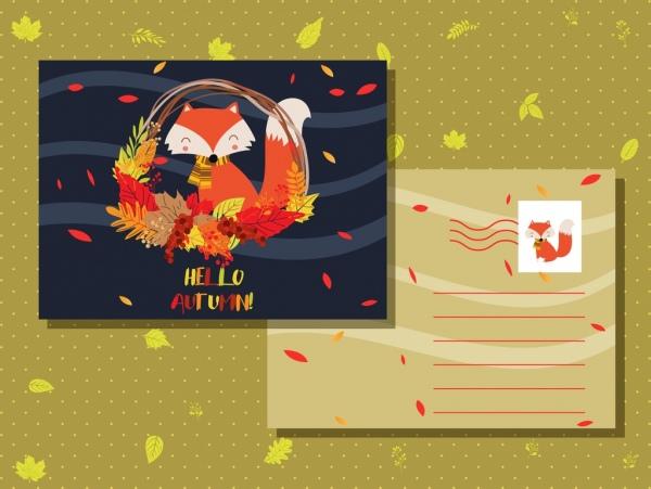autumn postcard template fox leaves icons decor