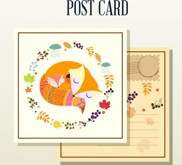 autumn postcard template fox plants icons classical design