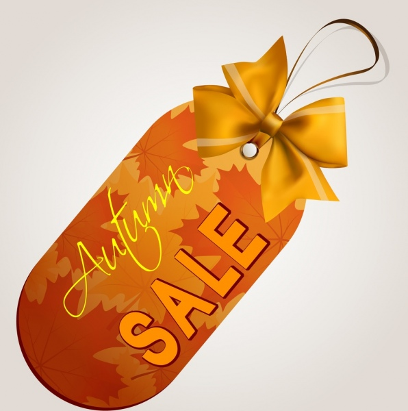 autumn sale tag yellow ribbon leaves background