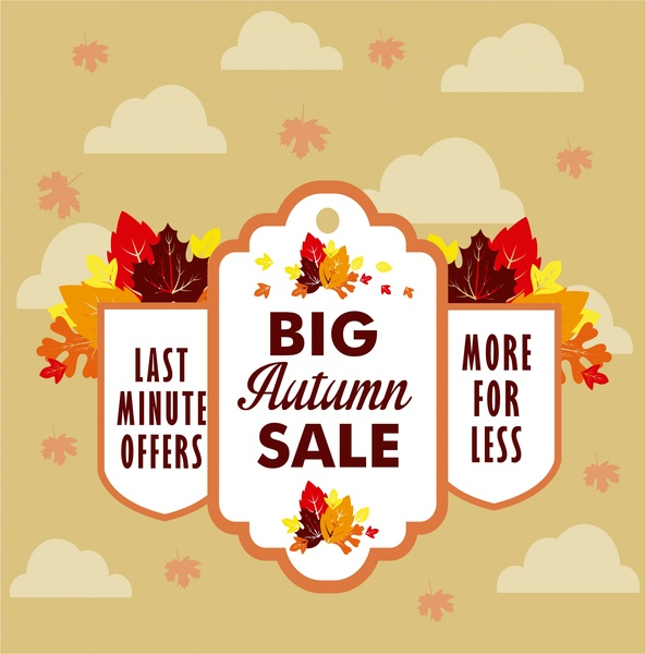 autumn sales banner falling leaves design style