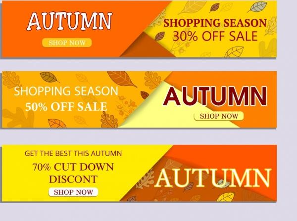autumn sales bannerts horizontal design leaf icons ornament