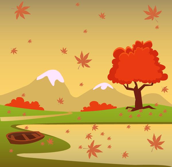 autumn scenery vector illustration with cartoon style