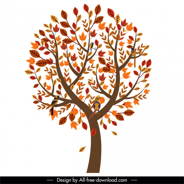 autumn tree icon luxuriant leaves perching birds sketch