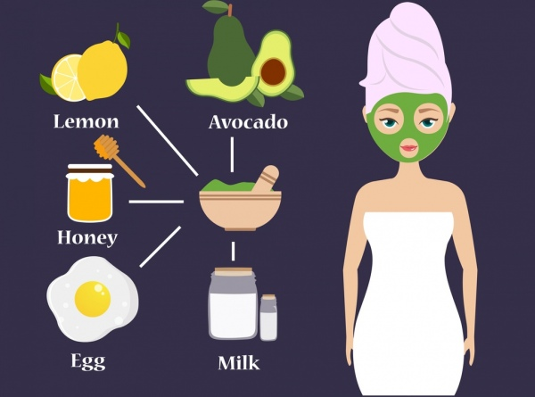 avocado benefit banner woman ingredients icons decoration