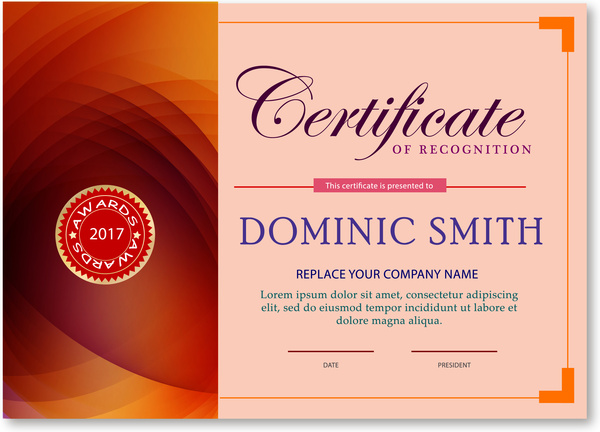 award certificate design with abstract pink background free vector