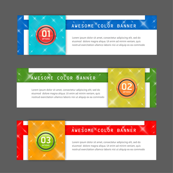 awesome color inforgraphic banner sets with modern style