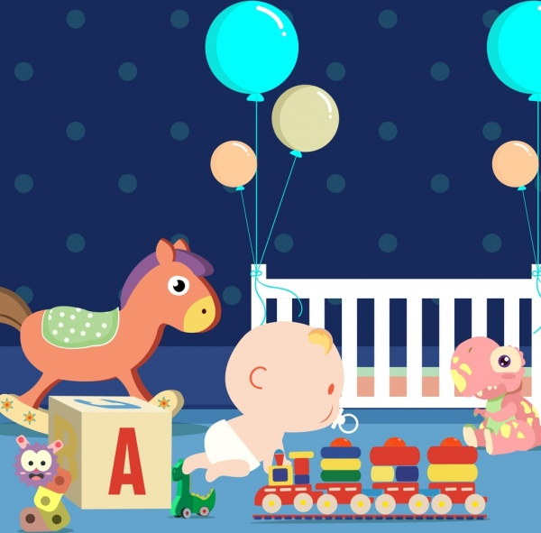 Baby background kid toys icons cartoon design Free vector ...